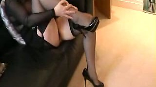 My busty blonde wife gives me awesome handjob in living room