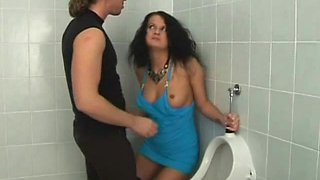 Dazzling brunette endures a brutal doggystyle slamming in the toilet