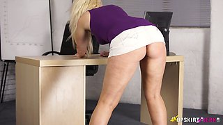 Lusty blonde bimbo Sky flashes her great ass and her panties
