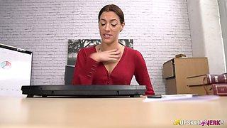 Slutty secretary is masturbating her pussy spreading legs under the table