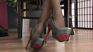 Amazing black pantyhose feet tease POV