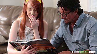 Tiny red head gets taught rough by home teacher