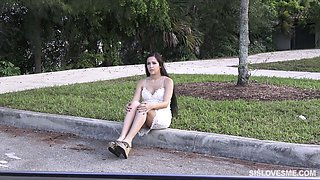 Birthday girl Annika Eve gives a blowjob in the car and gets her slit slammed