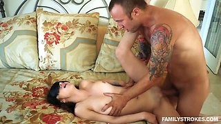 Tattooed kinky step daddy fucks blind folded petite GF in bed tough