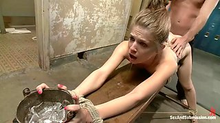 janitor ties up flexible college chick sensi pearl and fucks her extremely rough