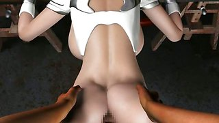 Animated with round tits gets anal