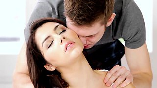 Romantic couple closeup with a creampie climax