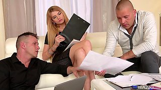 Blonde teen babe Karina Grand pounded by two guys at the office
