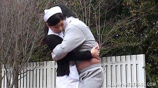 This wild Japanese nurse enjoys outdoor sex