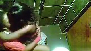 Saucy ebony girl gets nailed in the club toilet