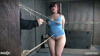 Seductive chubby nympho Tegan Trex and she's tied to a pole
