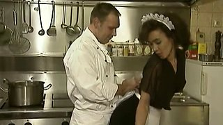 Waitress and big cock chef action in the kitchen