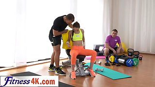 flexible brunette teen burning some calories with her partner