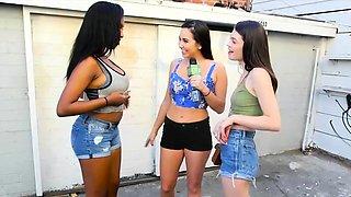Ebony and white girls flashing nice tits and get payed