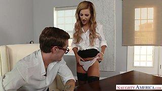 Perverted secretary Bella Rose seduces her well endowed boss