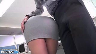 japanese secretary with best legs ever fucked at work