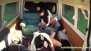 Petite Jav Idol Teen Ambushed And Fucked In The Back Of Van By Two Guys Creampie Rough Sex