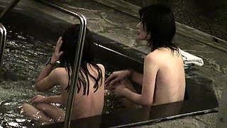 Sultry Asian babes drop their clothes and enjoy a hot bath