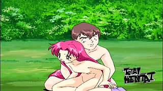 Amazing bright pink haired girl gets masturbated by lewd dude outdoors