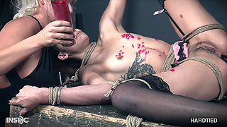 Eden Sin abused hardcore by her mistress London River and her machines