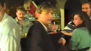 Filthy brunette German tramp feeling horny in the pub