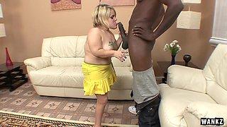 Blonde Midget Gobbles On A Big Black Cock