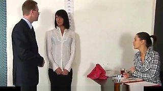 Hot secretary interviewed by HR staff