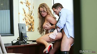 Stunning blonde Corrina Blake gets her pussy finger fucked and fucked  by horny boss