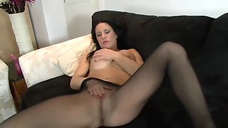 Seamless black pantyhose masturbation