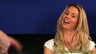 Blonde clothed mistress