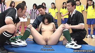Japanese football girls are punished by trainers for bad game