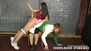 slutty blonde cheerleader punished by hot brunette