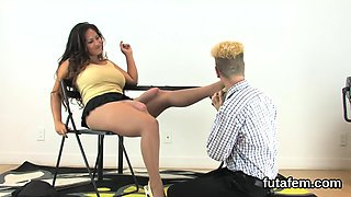 Girls shag boyfriends anal with monster belt cocks and squir
