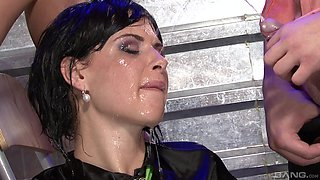 Celine with shaved pussy drinking urine in bar ffm