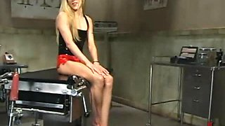 Slim Blonde Shows Her Hot Ass As She Rides A Fucking Machine