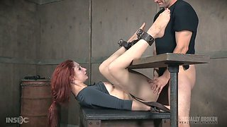 Two kinky dudes fuck pussy and mouth of tied up red head Violet Monroe