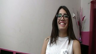 Nerdy brunette in glasses Penelope Cum sucks a dick in the toilet and gets messy facial