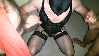 French slut crossdresser in a club