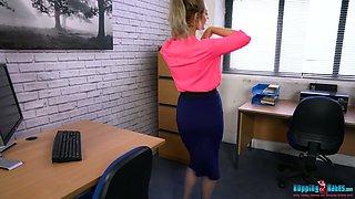 Slim secretary with juicy boobies Jayne strips in the office