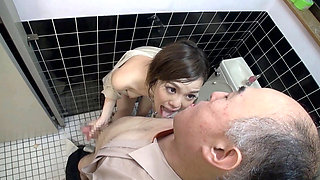 Asian babe having Toilet Sex with an old man