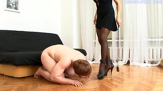 Naked man will do anything his hot mistress asks him to do