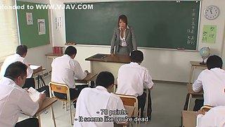 Teacher Yuuno Hoshi gets mad at her class then sucks multiple cocks