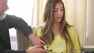 Kinky old teacher seduces sweet brunette teen Rita