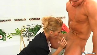 Banging his blonde sweetie doggy style without control