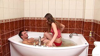 Tasha seduces a man in a tub for a plowing experience