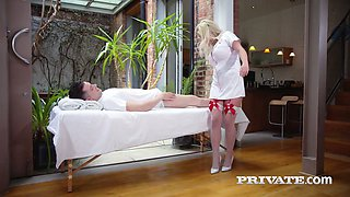 Posh maid wearing stockings and sexy uniform Sienna Day gets her anus fucked