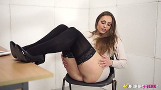 Seductive bimbo Sophia Delane shows what she got under her skirt