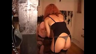 French redhead uses crossdressing sissy