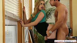 Desirable blonde beauty Mia Malkova fucked in doggy style