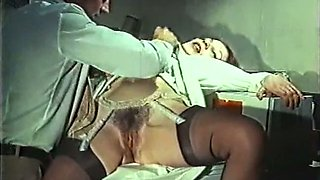 Beautiful classic blonde babe with her man in passionate sex session